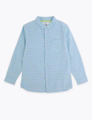 Хлопковая рубашка в горизонтальную полоску. Цвет: синий микс