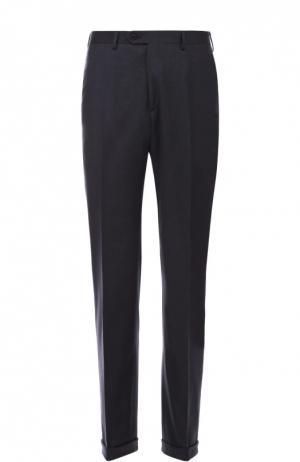 Классические шерстяные брюки с кожаной отделкой Brioni. Цвет: темно-синий
