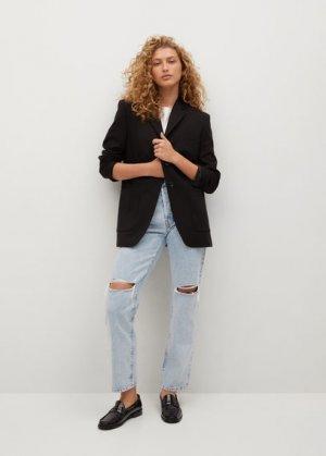 Нарочно рваные джинсы relaxed - Relax Mango. Цвет: светло-синий