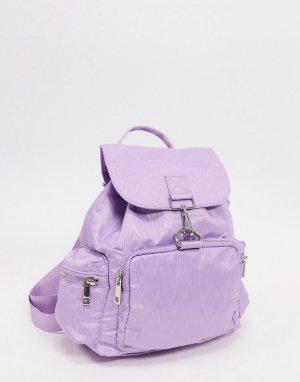 Лавандовый рюкзак из муара с карабинной застежкой -Фиолетовый ASOS DESIGN
