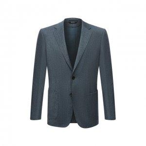 Шерстяной пиджак Z Zegna. Цвет: голубой