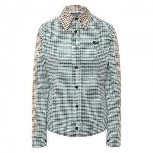 Хлопковая рубашка Lacoste. Цвет: зелёный