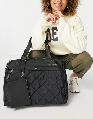 Большая стеганая сумка-тоут черного цвета с сумочкой -Черный цвет Steve Madden