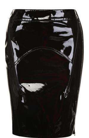 Кожаная мини-юбка с лаковыми вставками Tom Ford. Цвет: черный