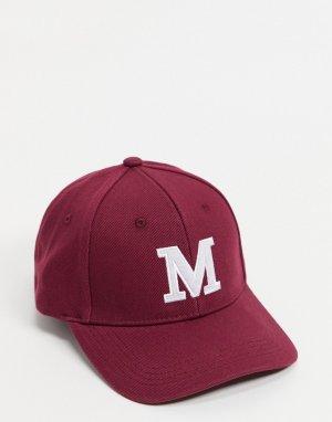 Бордовая парусиновая бейсболка с инициалом M -Красный ASOS DESIGN