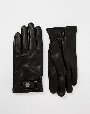 Кожаные перчатки с ремешками Nano Royal RepubliQ. Цвет: черный