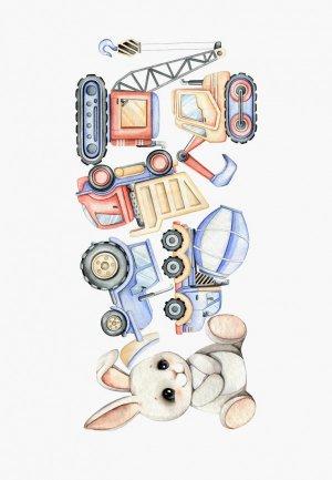 Наклейка декоративная Galerys Кролик с машинками, 120*55 см. Цвет: разноцветный