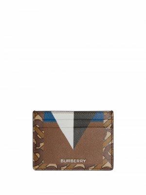 Картхолдер с монограммой и геометричным принтом Burberry. Цвет: коричневый