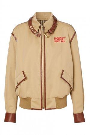 Куртка из габардина с контрастной кожаной отделкой Burberry. Цвет: бежевый