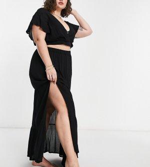 Ярусная пляжная юбка макси из жатой ткани черного цвета от комплекта ASOS DESIGN Curve-Черный цвет Curve