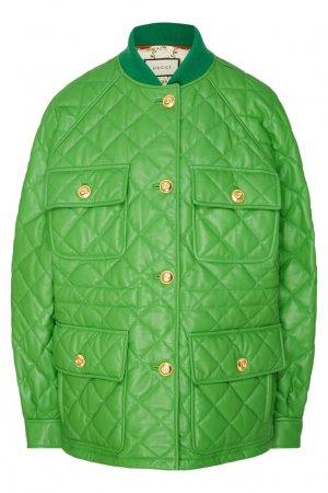 Кожаная куртка зеленого цвета Gucci. Цвет: зеленый