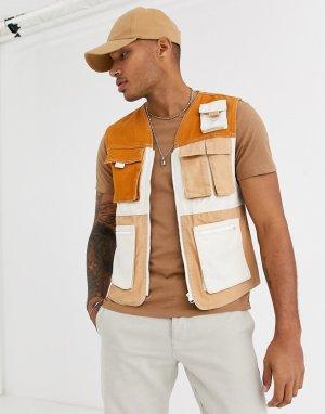 Бежевый джинсовый жилет в стиле милитари -Коричневый Bershka