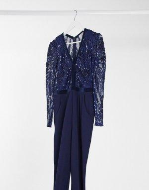 Темно-синий комбинезон с нарядной отделкой и глубоким вырезом Goddiva