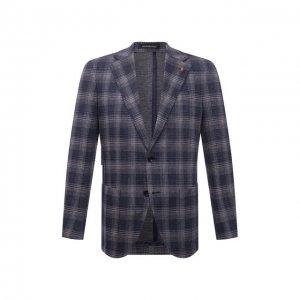 Хлопковый пиджак Sartoria Latorre. Цвет: синий