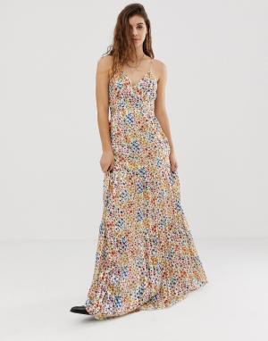 Платье макси с пестрым цветочным принтом Rosy BA&SH. Цвет: мульти