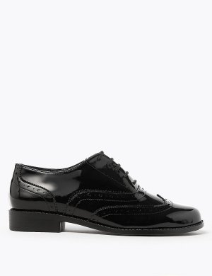 Туфли-броги на шнурках M&S Collection. Цвет: черный лак
