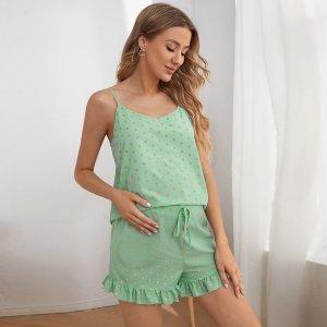 Для беременных в горошек Майка & с оборками Шорты Пижама SHEIN. Цвет: мятно-зеленый