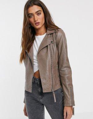 Кожаная серо-коричневая байкерская куртка -Серый Pepe Jeans
