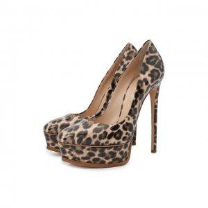 Кожаные туфли Flora Casadei. Цвет: бежевый