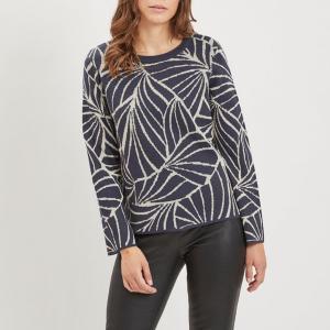 Пуловер с рисунком и круглым вырезом VILA. Цвет: темно-синий