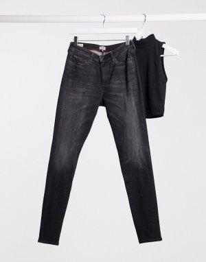 Черные джинсы скинни с завышенной талией -Черный цвет Tommy Jeans