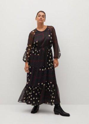 Длинное платье с принтом - Olivia Mango. Цвет: черный