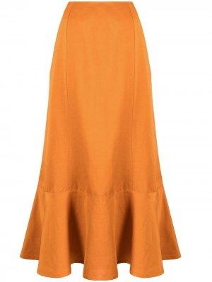 Юбка миди с оборками Jil Sander. Цвет: оранжевый