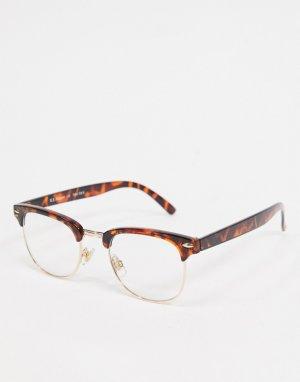 Черепаховые солнцезащитные очки в квадратной оправе с прозрачными стеклами -Коричневый цвет AJ Morgan