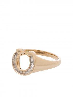 Перстень из желтого золота с бриллиантами Adina Reyter. Цвет: золотистый