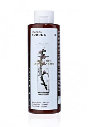 Шампунь Korres для сухих и поврежденных волос с миндалем семенами льна 250 мл. Цвет: белый