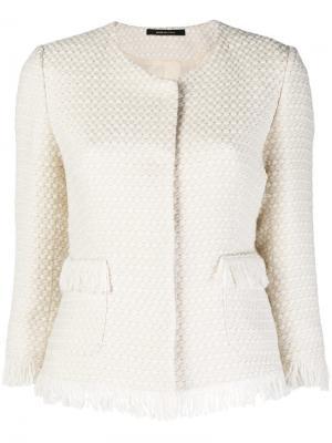 Твидовый пиджак с бахромой Tagliatore. Цвет: белый