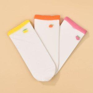 Для девочек 3 пары Носки до середины голени фрукты SHEIN. Цвет: многоцветный