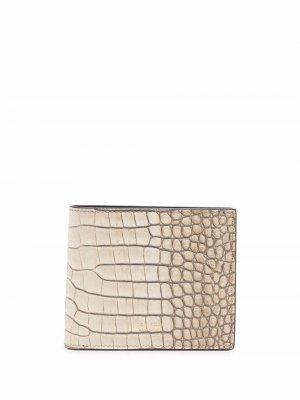 Crocodile-effect leather cardholder TOM FORD. Цвет: нейтральные цвета