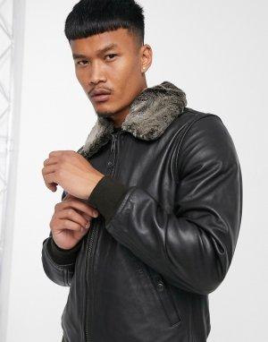 Кожаная куртка премиум-класса темно-коричневого цвета со съемным воротником из искусственного меха LC930D Pilot-Коричневый Schott