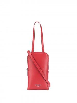Сумка с ланъярдом и логотипом Dolce & Gabbana. Цвет: красный