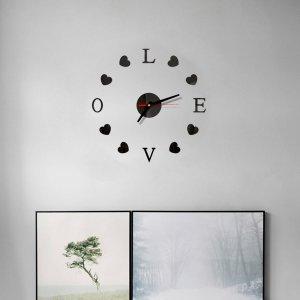 Настенные часы в форме сердечка с зеркальной поверхностью SHEIN. Цвет: чёрный