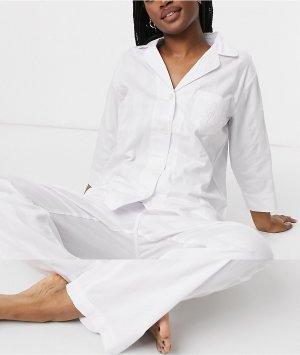 Белая пижама в полоску из хлопка Lauren by Ralph Lauren-Белый