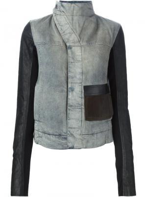 Джинсовая куртка с кожаными панелями Rick Owens DRKSHDW. Цвет: синий