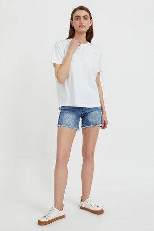 Шорты джинсовые женские Finn-Flare. Цвет: синий