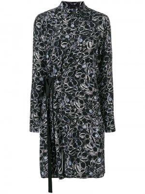Платье с запахом длинным рукавами A.F.Vandevorst. Цвет: черный