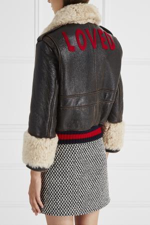 Кожаная куртка Gucci. Цвет: коричневый, бежевый