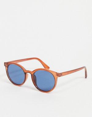 Круглые солнцезащитные очки с голубыми линзами -Голубой New Look