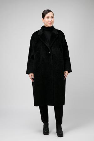Женское пальто О-силуэта из альпака сури для больших размеров Elisabetta. Цвет: черный