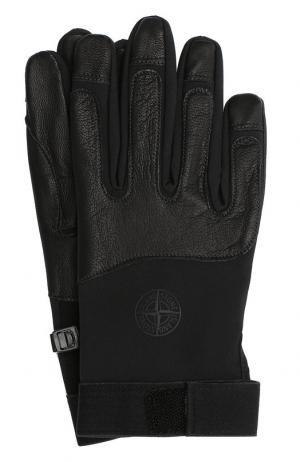 Текстильные перчатки Stone Island. Цвет: черный