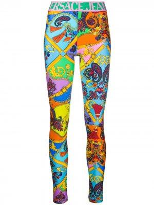 Легинсы с графичным принтом Versace Jeans Couture. Цвет: синий