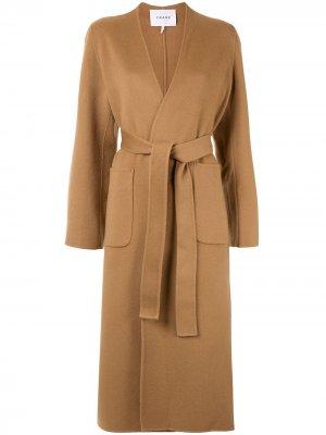 Пальто с поясом FRAME. Цвет: коричневый