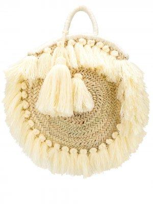 Плетеная сумка-тоут с бахромой Gianluca Capannolo. Цвет: нейтральные цвета