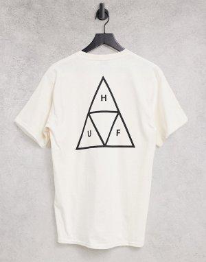 Бежевая футболка с тройными треугольниками Essentials-Светло-бежевый HUF