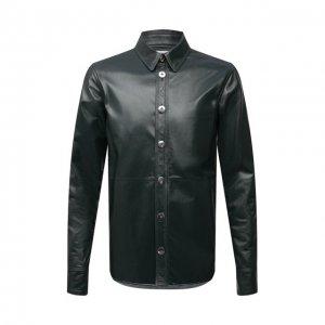 Кожаная рубашка Bottega Veneta. Цвет: зелёный