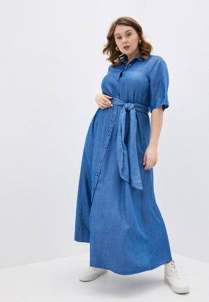 Платье джинсовое Marina Rinaldi Sport. Цвет: синий